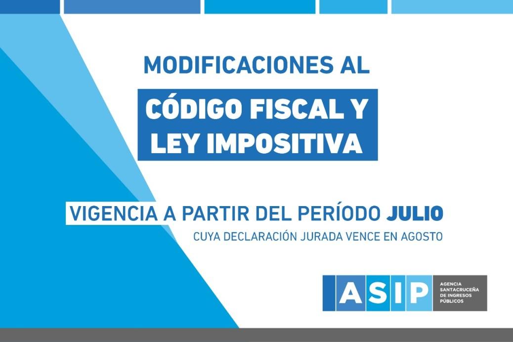 Modificación Ley Impositiva y Código Fiscal